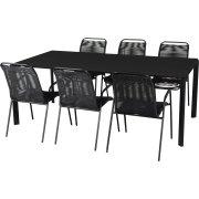 Livorno havemøbelsæt til 6 pers. - PVC stabelstole