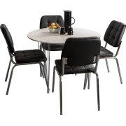 Kantinesæt t/ 4 pers. Hvidt bord, sorte stole