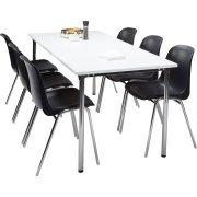 Lena Basic kantinesæt m/ 6 sorte stole og bord