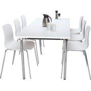 NET kantinesæt m. 6 hvide stole og bord 180x80 cm