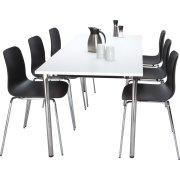 NET kantinesæt m. 6 sorte stole og bord 180x80 cm