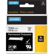 Dymo RHINO Permanent Polyester 12mm, sort på hvid