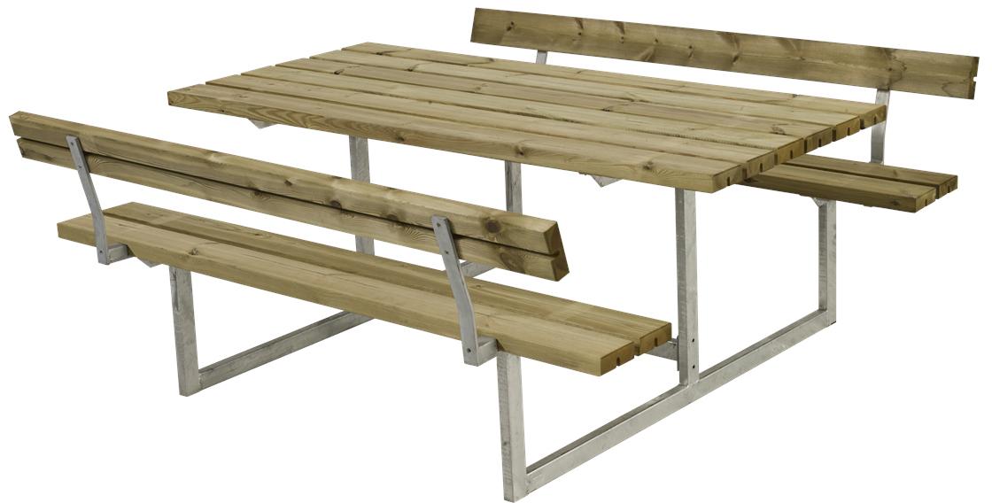 bord bænkesæt Plus Basic bord bænkesæt m. ryglæn, Natur   køb til fast lav pris  bord bænkesæt