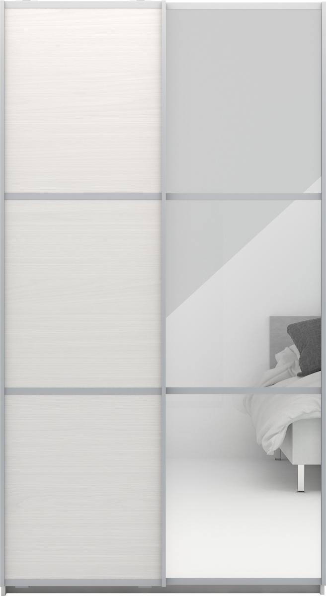 garderobeskab med spejl Garderobeskab m. skydedøre, Hvid struktur, B 120cm   køb til fast  garderobeskab med spejl