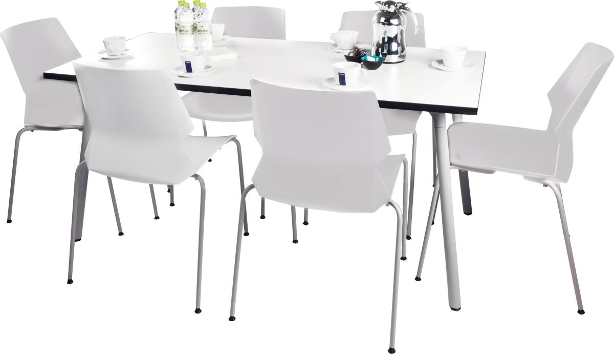 Produktdetaljer på Prime kantinesæt m/ 6 HVIDE stole og 1 hvidt bord ...