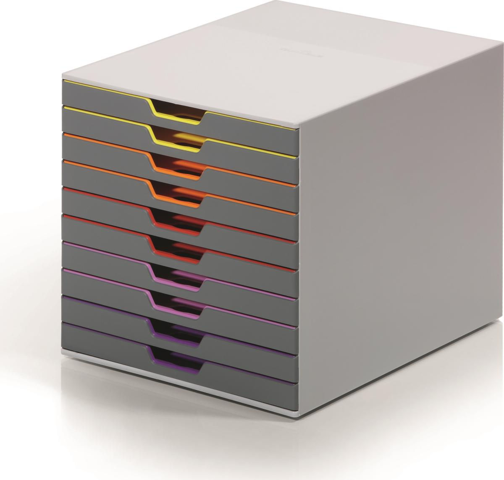 Durable varicolor skuffekabinet 10 skuffer k b til fast for Ladenblok durable varicolor