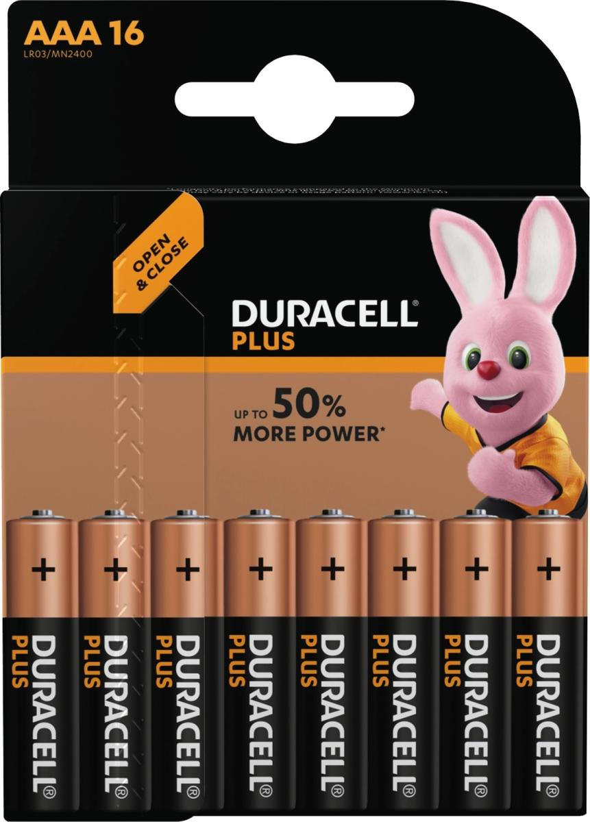 duracell plus power aaa batteripakke med 16 stk k b til god pris lomax a s. Black Bedroom Furniture Sets. Home Design Ideas