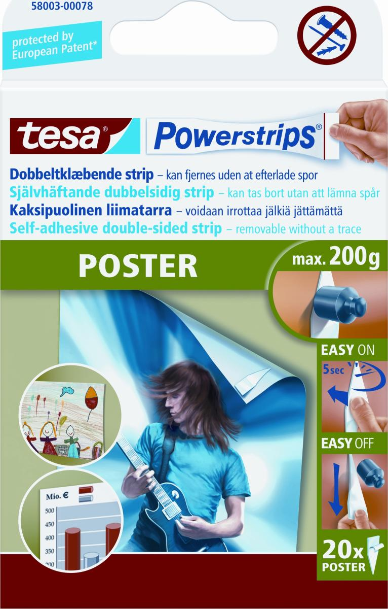 tesa powerstrips poster 20stk k b dem hos lomax idag. Black Bedroom Furniture Sets. Home Design Ideas