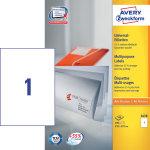 Avery 3478 uni.etiketter, 210 x 297mm, hvide