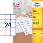 Avery 18030 kopietiketter, 36 x 70mm, 2400stk