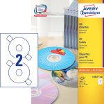 Avery L6043-100 CD-etiketter, 117mm, inkjet/laser