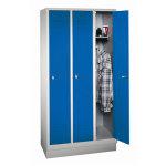 CP Classic garderobeskab 3x1 rum, Sokkel, Grå/Blå