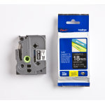 Brother TZe-345 labeltape 18mm, hvid på sort