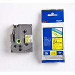 Brother TZe-651 labeltape 24mm, sort på gul
