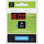Dymo D1 labeltape 24mm, sort på rød