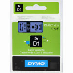 Dymo D1 labeltape 24mm, sort på blå