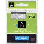 Dymo D1 labeltape 19mm, hvid på klar