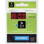 Dymo D1 labeltape 19mm, sort på rød