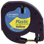 Dymo Letratag labeltape 12mm, sort på gul