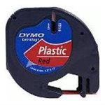 Dymo Letratag labeltape 12mm, sort på rød
