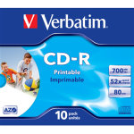 Verbatim CD-R 700mb Printable, Jewelcase, 10 stk
