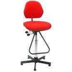Aktiv arbejdsstol m/ fodbøjle, rød, stof