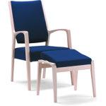 7030 Lænestol ubeh. bøg med blåt stof