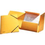 Esselte elastikmappe m/klap, A4 karton, gul