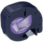 Dymo Letratag labeltape 12mm, sort på klar
