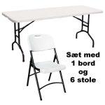 Park sæt til 6 pers. , 1 klapbord + 6 klapstole