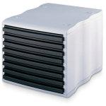 Styrowave skuffebox med 8 skuffer, grå/sort