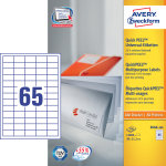 Avery 3666 uni.etiketter, 38 x 21,2mm, 6500stk