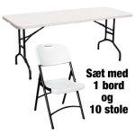 Park sæt til 10 pers. 1 kuffertbord + 10 klapstole