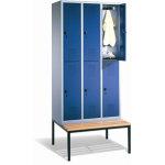 CP garderobeskab, 3x2 rum, Bænk,Hængelås, Grå/Blå