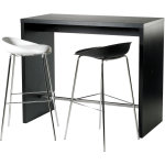 Detroit højt mødesæt bord + 2 sorte stole