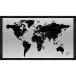Verdenskort med sort ramme H60xB120 cm