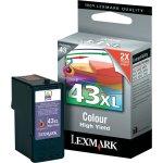 Lexmark, no. 43XL - 018YX143E blå/rød/gul blæk