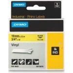 Dymo Rhino Vinyltape 19mm, sort på gul