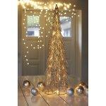 Siv dekorationstræ, 40 LED, Sølv, H 66 cm