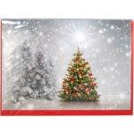 Julekort med grantræer og juletræer