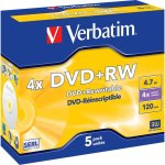 Verbatim DVD+RW 4,7GB Jewel Case, 5 stk