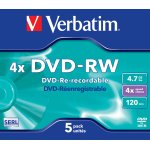 Verbatim DVD-RW 4,7GB Jewel Case, 5 stk