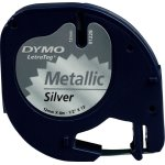 Dymo Letratag labeltape 12mm, sort på sølv