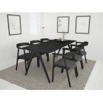 NOFU mødebordssæt, Massivt asketræ sort m/ 6 stole