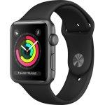 Apple Watch Series 3 GPS, 38mm grå, sort rem