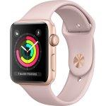Apple Watch Series 3 GPS, 42mm, Guld, lyserød rem