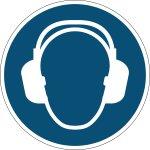 """Durable """"anvend hørebeskyttelse"""" klistermærke, blå"""