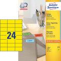 Avery 3451 farvede etiketter, 70 x 37mm, gul