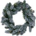 Julekrans m. sne, Ø 45 cm, 40 LED
