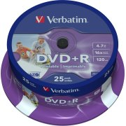 Verbatim DVD+R 4,7GB printable spindel, 25stk